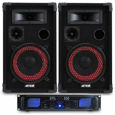 "2x Skytec 8"" DJ PA Party Speakers + Amplifier + Cables Home Disco System 500W"