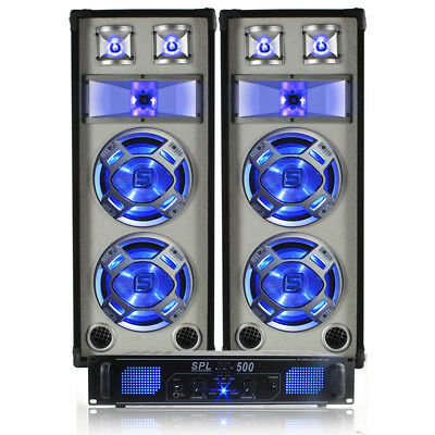 "2x Skytec Dual 8"" DJ Speakers + Amplifier + Cables Party Disco System 1200W"