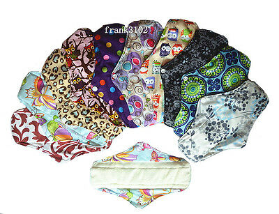 12 Reusable Washable Bamboo Cloth Menstrual Sanitary Mama Pads Regular M 10in