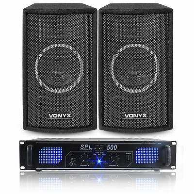 "2x Skytec 6"" Party Disco Speakers + Amplifier + Cables Home Audio System 300W"