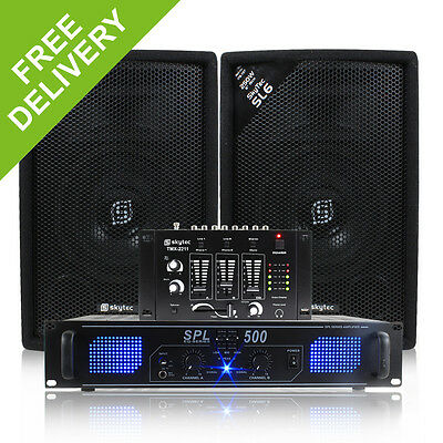 """2x Skytec 6"""" PA Party Speakers + DJ Mixer + Amplifier + Cables Disco System 500W"""