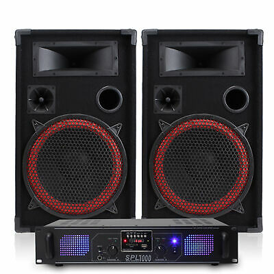 "2x Skytec 12"" PA DJ Party Speakers + Amplifier + Cables Disco Sound System 1000W"
