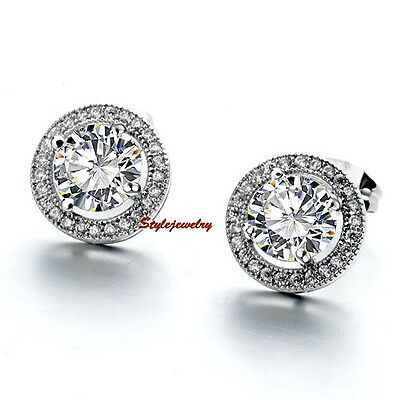 Silver Clear Bridal Cluster Round Stud Earring Made With Swarovski Crystal IE36