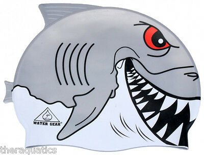 CRITTER Learn to Swim Cap GREAT WHITE Silicone Kids Swimming Reef SHARK  39700GW