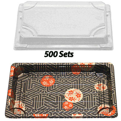 """Sushi Container w/Lid 7.3"""" x 5"""" (500 Sets) Plastic Sushi Box/Takeout/To Go"""