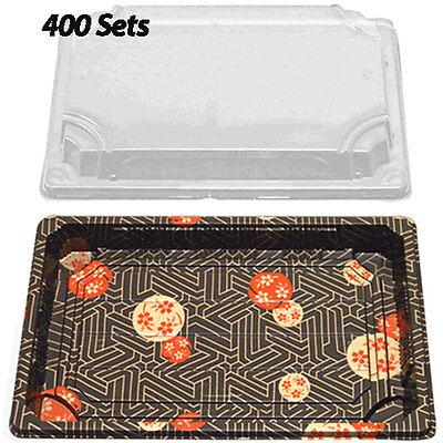 """Sushi Container w/Lid 9"""" x 6""""(400 Sets) Plastic Sushi Box/Takeout/To Go"""
