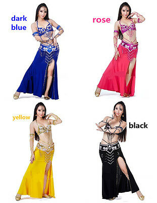 Belly Dance Paillette Bra&Belt & One-Side Open Beaded Skirt 10colors 3pcs