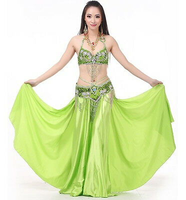 Belly Dance Paillette Bra&Belt & Both Sides Slits Skirt 10colors 3pcs