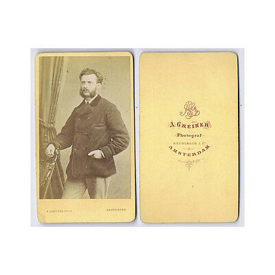CDV Photo Gentleman With Large Whiskers Carte De Visite By Greiner Of Amsterdam