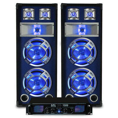 "2x Skytec Dual 8"" Party Blue LED Speakers + Power Amplifier + Cable System 1500W"