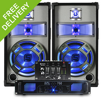 "2x Skytec 10"" Party PA Speakers + Amplifier + Mixer + Cables DJ System 800W"