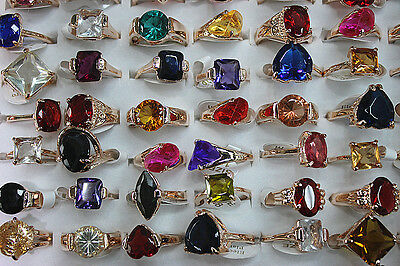 New design wholesale Mixed Lots 20pcs Big Colorful zircon charming Women's rings