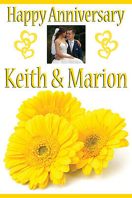 LARGE ANNIVERSARY BIRTHDAY POSTER BANNER PERSONALISED ANY COLOUR NAME PHOTO