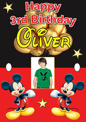 LARGE BOYS BIRTHDAY BABY MICKEY MOUSE BANNER POSTER PERSONALISED NAME PHOTO ETC