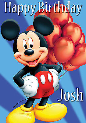 LARGE KIDS BABY MICKEY MOUSE BIRTHDAY POSTER BANNER PERSONALISED ANY TEXT NAME