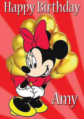 Large Kids Minnie Mouse Birthday Poster Banner Personalised Any Text Name Etc