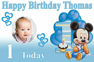 LARGE KIDS MICKEY MOUSE BIRTHDAY PHOTO POSTER BANNER PERSONALISED ANY TEXT AGE