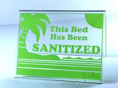 "Tanning Bed Sign Sanitized Bed Acrylic Tent  Sign 3""x4.5"" LIME  # 214 Solarium"