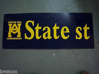"Vintage ARTHUR HILL / STATE ST STREET SIGN 30"" X 12"" GOLD LETTERING ON BLUE"