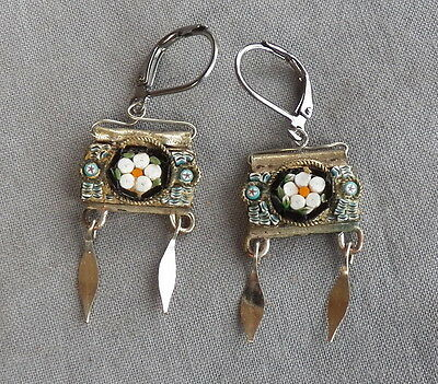 Vintage Drop Dangle Floral Victorian Style Micro Mosaic Earrings