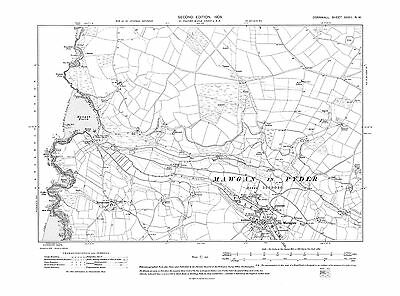 Old map of National Explosives Works 1908 Cornwall repro Corn-62-SW-1908