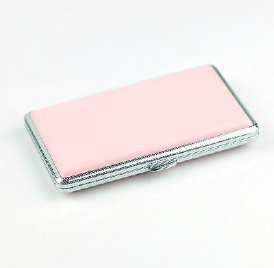 Pink Leather Slim Cigarette Case Box 100's Hold For 14 100mm Cigarettes 308