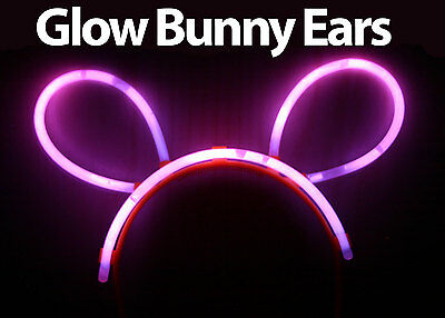 Glow in the Dark Bunny Ears Lot Glowing Colours: Pink Green Blue Yellow Orange
