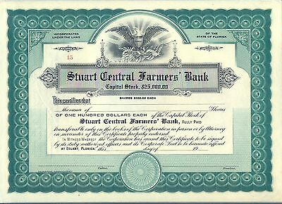 Stuart Central Farmers Bank Stock Certificate Florida