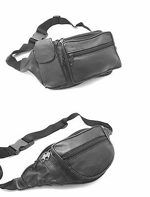 Real Leather Bum Bag Waist Pouch Travel Money Belt Black Holiday Festival Ibiza