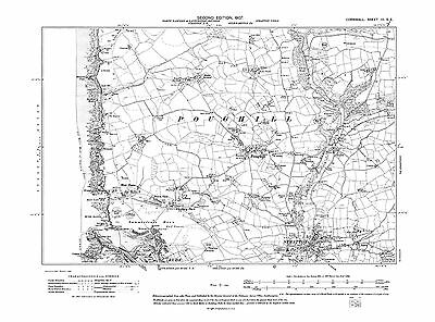 Old map of Bude, Stratton, Poughill 1907 - Cornwall, repro Corn-3-SE