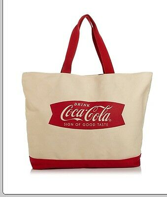 """Drink Coca Cola Sign Of Good Taste"" Extra Large Canvas Bag & Wristlet NWT"
