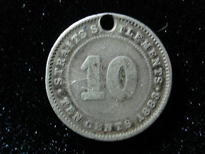 Straits Settlements 1883 10 Cents Very Scarce Rare Silver Coin
