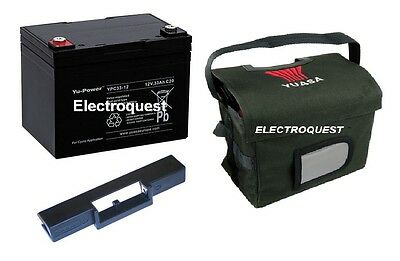 YUASA REC36-12 36ah GOLF BATTERY, CARRY BAG &T BAR FOR POWAKADDY 36 HOLE BATTERY