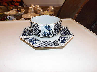 Oriental Octagon Plate with Matching Bowl