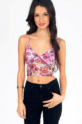 03944c244fe NEW Urban  32 Tobi In a Daze Floral Bralette Pink Bustier Semi sheer crop  top