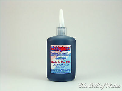 THICK - Black Rubber Toughened - HOBBYBOND CA Adhesive - 2 oz. Snip-Top Bottle