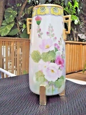 Vintage Nippon hand painted vase with gold leaf