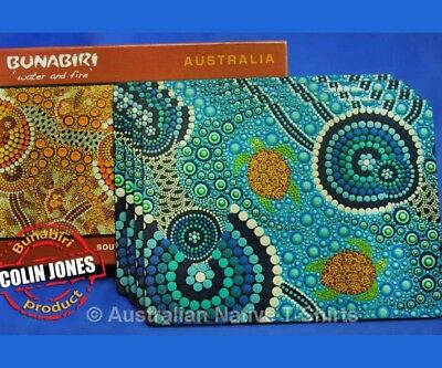 Aboriginal Art Turtle Blue Placemats, Set of 4, Cork Backed - Native Aussie Gift