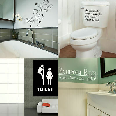 BATH WALL QUOTES! Large Toilet & Bath Wall Sticker / Decal Art Transfer Graphic