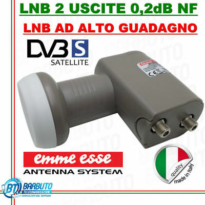 LNB 2 USCITE TWIN UNIVERSALE 0,1 dB N.F. SERIE XTRA LINE EMMEESSE