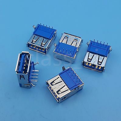 5Pcs USB 3.0 Type A Female Right Angle 9Pin DIP Socket PCB Solder Connector