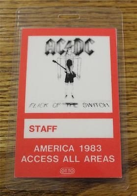 Vintage Genuine AC/DC America 1983 Flick of Switch OTTO Laminated Backstage Pass