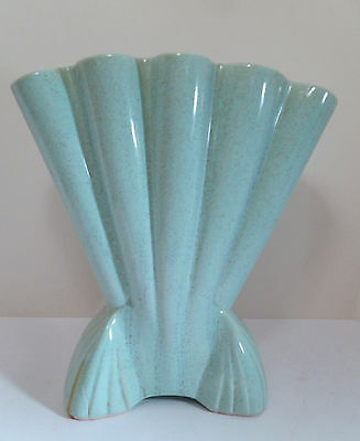 BRUSH POTTERY CO #721 FOOTED FAN VASE 1950s ART DECO