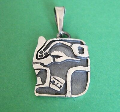 925 Mexican Silver Taxco Hand Crafted MAYAN ZODIAC CALENDAR Months Large Pendant