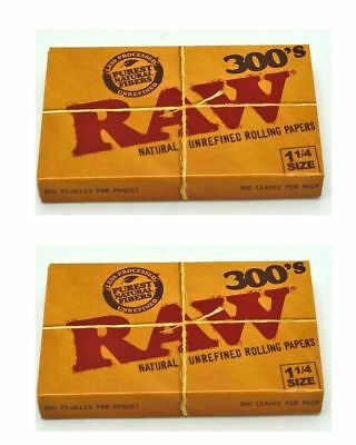 2 Raw Rolling Papers 300s Unbleached Natural Thin Slow Burning 1 1/4 Vegan 1.25