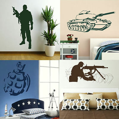 Army Wall Stickers! Boys Military Bedroom Art, Lads Room Decal British Solider