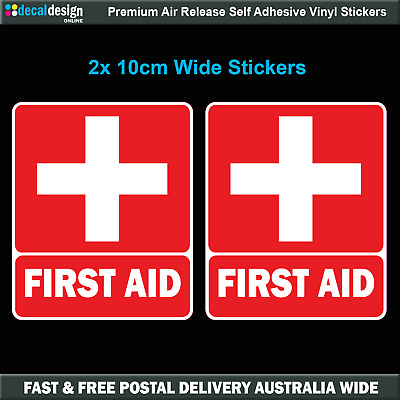 First Aid Stickers x2 UV resistant for boating car safety and medical #F019