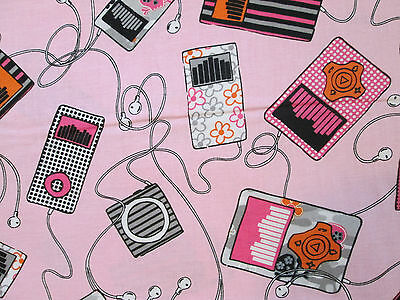Retro Music Ipod Ear Buds Songs Speakers Pink Background Cotton Fabric Fq