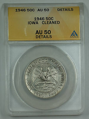 1946 Iowa Commemorative Silver Half Dollar Coin ANACS AU-50 Details Cleaned