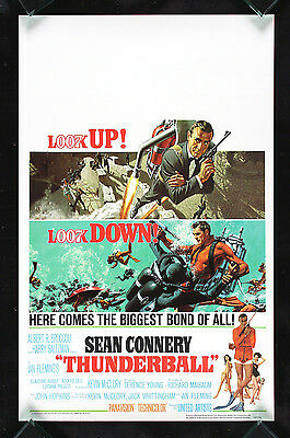 THUNDERBALL * CineMasterpieces ORIGINAL MOVIE POSTER WINDOW CARD JAMES BOND 1965